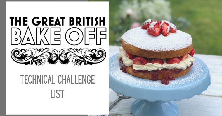 List of The Great British Bake Off Technical Challenge Recipes